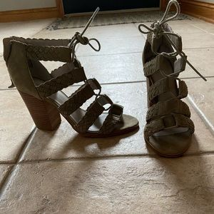 Olive green lace up booties.